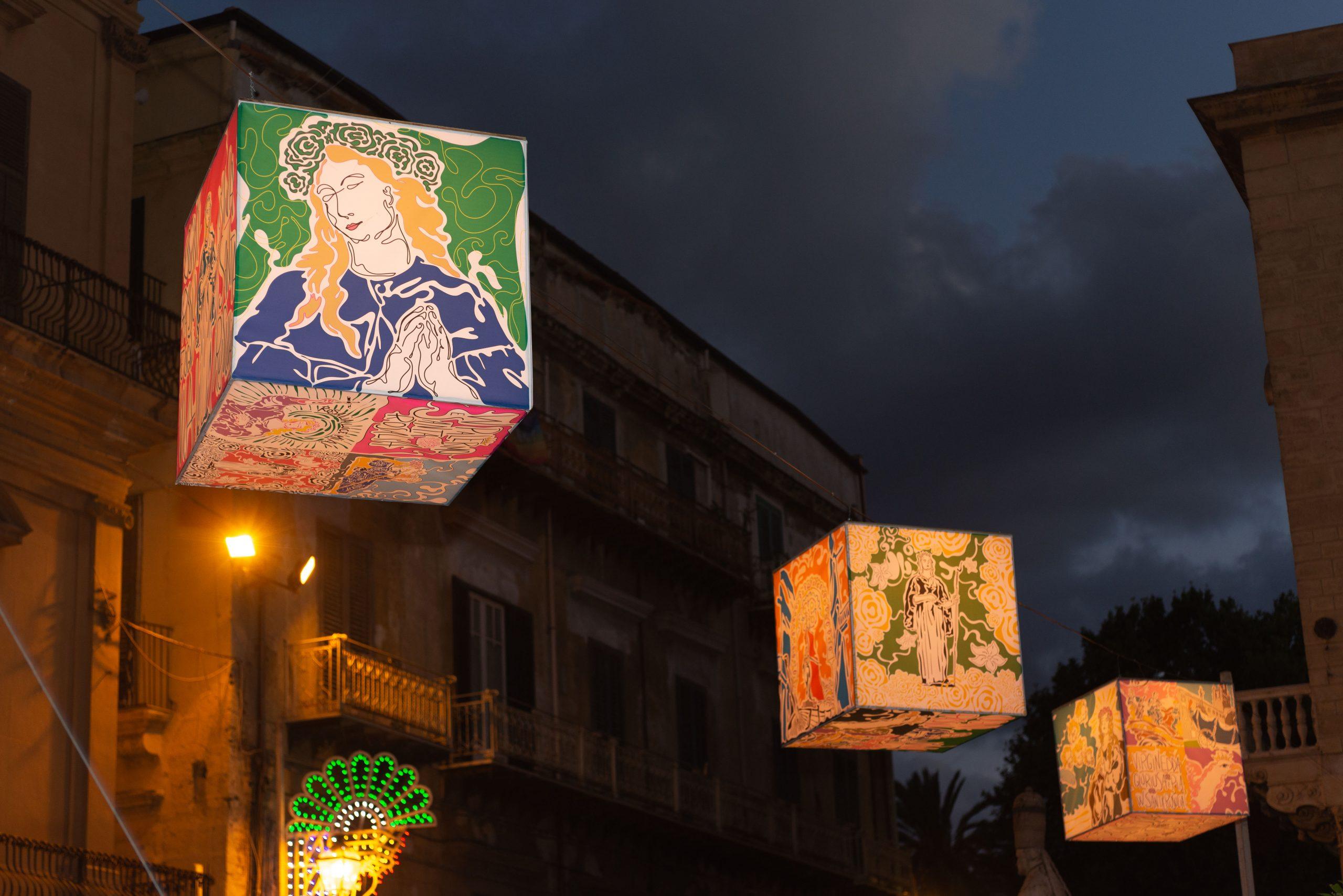 Rosalia Luce Mia: alla Cattedrale cubi di luce e cerchi luminosi in omaggio alla Santuzza